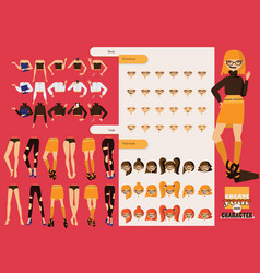 beautiful hand drawn set with parts for creating vector image