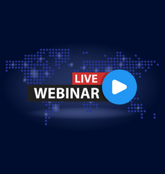 Free webinar play online button in blue dark vector