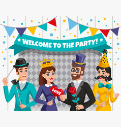 Carnival photo booth party people composition vector