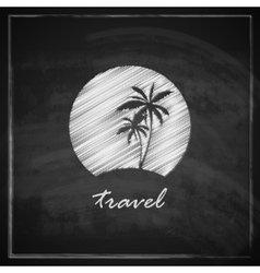 Vintage with tropic island sign on blackboard vector