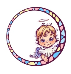 Frame with cute angel vector