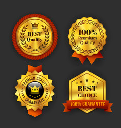 Gold guaranteed labels vector