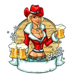Sexy cowgirl with glasses of beer - winter edition vector