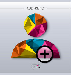 Add friend - social icon in polygon style vector