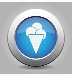 Blue metal button with ice cream vector