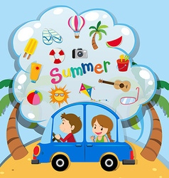 Summer vacation with people driving in car vector image