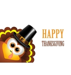 Card for thanksgiving day turkey in a pilgrim hat vector