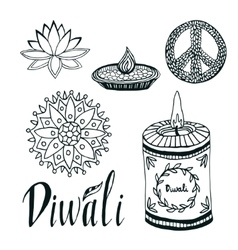 Diwali collection lotus rangoli diya and vector