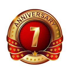 7 anniversary golden label with ribbon vector image vector image