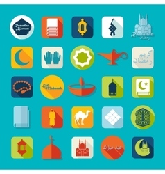 Set of flat icons ramadan kareem vector