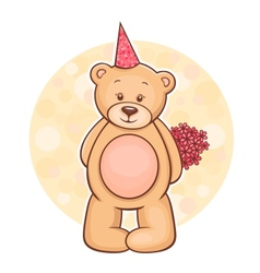 Teddy bear flowers vector