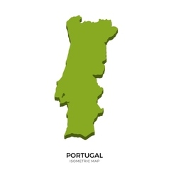 Isometric map of portugal detailed vector