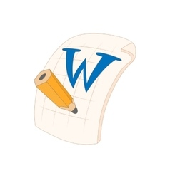 Word file icon in cartoon style vector