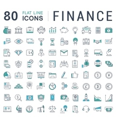 Set flat line icons finance vector
