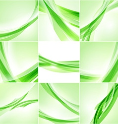 Abstract background set Green waves on light vector image