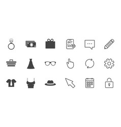 Accessories clothes icons shopping signs vector