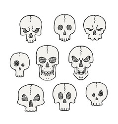 Cartoon set of skulls Scary and halloween vector image