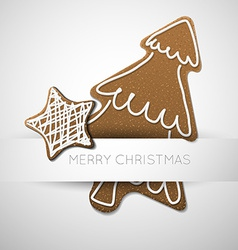 Christmas card with gingerbreads vector