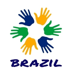 Colorful hand print icon using Brazil flag colors vector image vector image