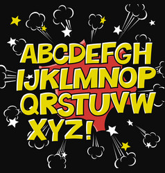 Comic alphabet and speech bubble elementexplode vector
