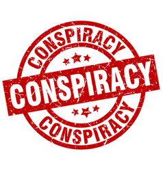 conspiracy round red grunge stamp vector image
