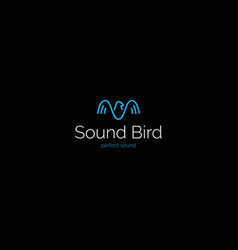 creative minimalistic sound wave bird logo vector image