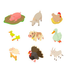 domestic animals icon set cartoon style vector image vector image