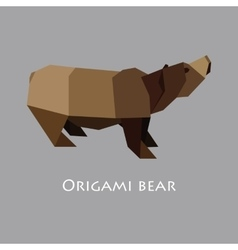 flat design with origami bear vector image