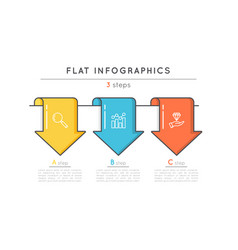 Flat style 3 steps timeline infographic template vector