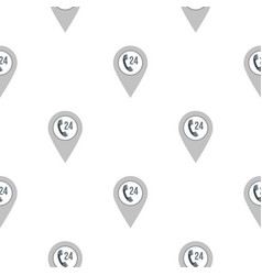 Gray map pointer with phone handset sign pattern vector