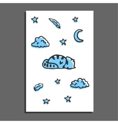 Greeting card with sleeping raccoon moon and vector image