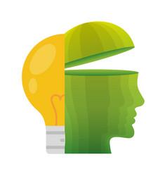 Head think green bulb light energy vector