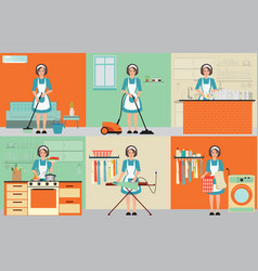 lady set of housewife cleaning vector image