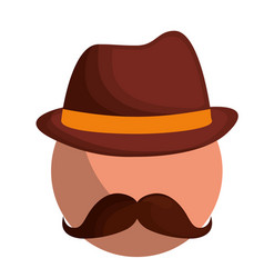 man with mustache and hat vector image