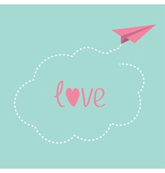 Origami paper plane dash cloud in the sky love car vector
