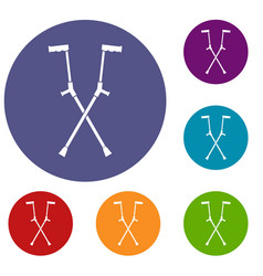 Other crutches icons set vector