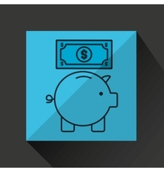 Piggy saving money bill dollar vector