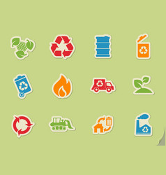 Recycle symbols icon set vector