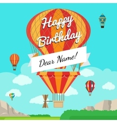 Retro balloon with message banner vector