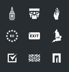 set of british brexit icons vector image