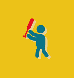 Silhouette of a baseball player in sticker style vector