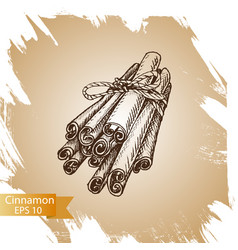 Silhouettes of cinnamon sticks hand drawn vector