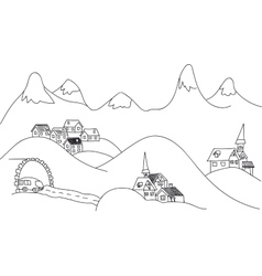 Sketch alpine a picture of mountains vector