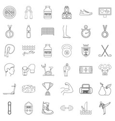 sportsman icons set outline style vector image vector image