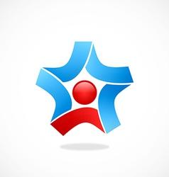star circle ribbon business logo vector image