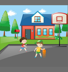 Two boys playing basketball at home vector