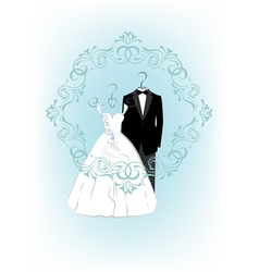 Wedding invitation with clothes a bride and groom vector image vector image