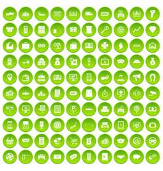 100 coin icons set green circle vector