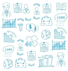 Doodle of business set element vector