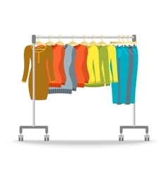 Hanger rack with warm women clothes winter set vector